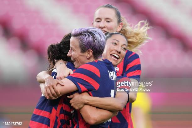 Carli Lloyd of the United States celebrates scoring with teammates during a game between Australia and USWNT at Kashima Soccer Stadium on August 5,...