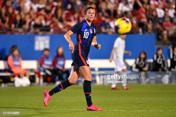 Carli Lloyd of the United States follows the ball during the second half of the SheBelieves Cup match against Japan at Toyota Stadium on March 11...