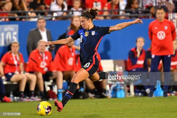 Carli Lloyd of the United States kicks the ball during the second half of the SheBelieves Cup match against Japan at Toyota Stadium on March 11 2020...