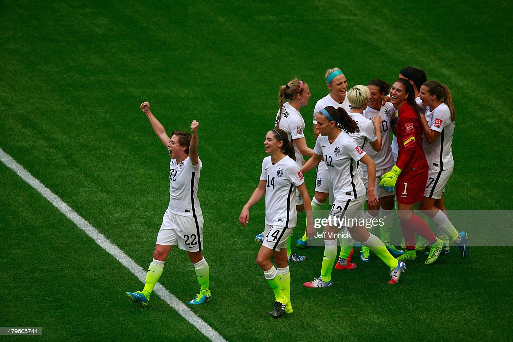 Carli Lloyd #10 of the United States of America celebrates scoring her third goal against Japan with her teammates in the FIFA Women's World Cup Canada 2015 Final at BC Place Stadium on July 5, 2015 in Vancouver, Canada.