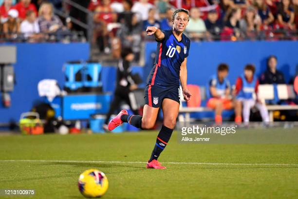 Carli Lloyd of the United States points out the play during the second half of the SheBelieves Cup match against Japan at Toyota Stadium on March 11...