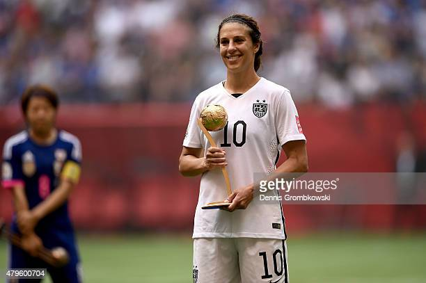 Carli Lloyd of the United States poses after winning the Golden Ball during the FIFA Women's World Cup Canada 2015 Final at BC Place Stadium on July...