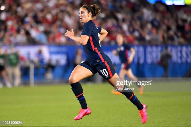 Carli Lloyd of the United States runs down the field during the second half of the SheBelieves Cup match against Japan at Toyota Stadium on March 11...