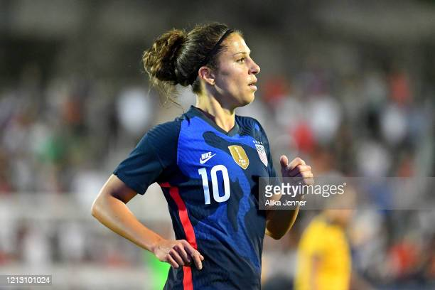 Carli Lloyd of the United States runs on the field during the second half of the SheBelieves Cup match against Japan at Toyota Stadium on March 11...