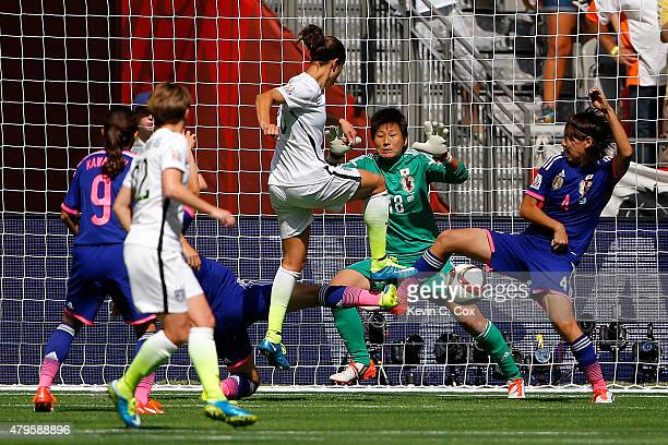 Carli Lloyd of the United States scores her second goal in the first half against Japan in the FIFA Women's World Cup Canada 2015 Final at BC Place...