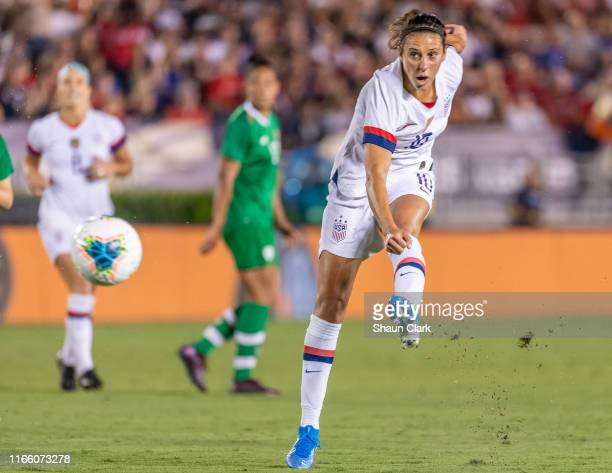 Carli Lloyd of the United States takes a shot during the United States international friendly match against Ireland at the Rose Bowl on August 3 2019...