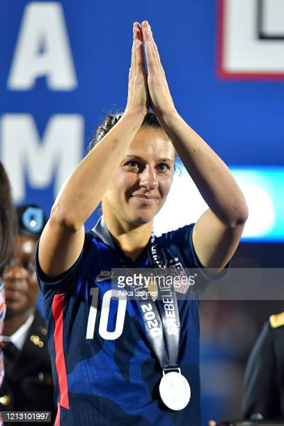 Carli Lloyd of the United States thanks the fans after the SheBelieves Cup match against Japan at Toyota Stadium on March 11 2020 in Frisco Texas The...