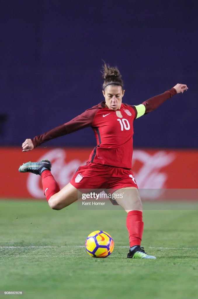 Carli Lloyd #10 of the U.S. women's national team shoots the ball on goal during the second half against the Danish women's national team at SDCCU Stadium on January 21, 2018 in San Diego, California.