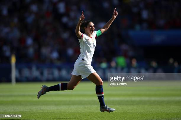 Carli Lloyd of the USA celebrates after scoring her team's first goal during the 2019 FIFA Women's World Cup France group F match between USA and...