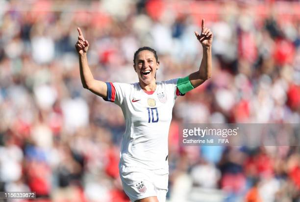 Carli Lloyd of the USA celebrates after scoring her teams first goal during the 2019 FIFA Women's World Cup France group F match between USA and...