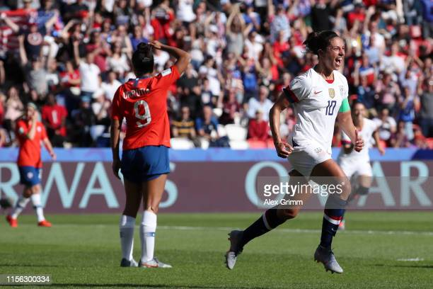 Carli Lloyd of the USA celebrates after scoring her team's third goal during the 2019 FIFA Women's World Cup France group F match between USA and...