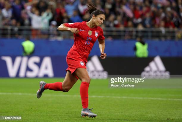 Carli Lloyd of the USA celebrates after scoring her team's thirteenth goal during the 2019 FIFA Women's World Cup France group F match between USA...