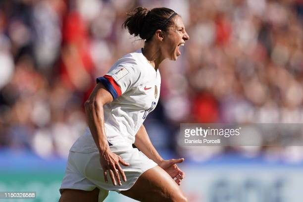 Carli Lloyd of the USA celebrates her goal during the 2019 FIFA Women's World Cup France group F match between USA and Chile at Parc des Princes on...