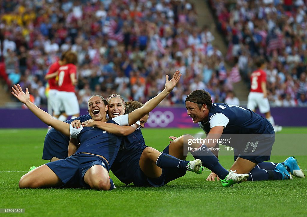 Carli Lloyd #10 of the USA celebrates her goal during the Women's Football Final match between the USA and Japan on Day 13 of the London 2012 Olympic Games at Wembley Stadium on August 9, 2012 in London, England.