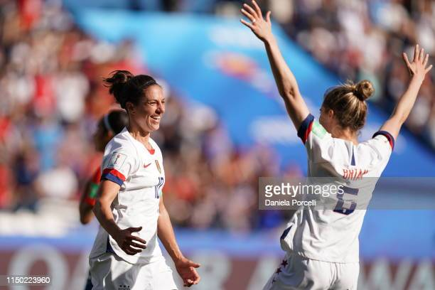 Carli Lloyd of the USA celebrates scoring her 2nd goal during the 2019 FIFA Women's World Cup France group F match between USA and Chile at Parc des...