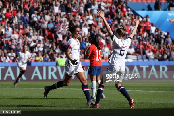 Carli Lloyd of the USA celebrates with teammate Morgan Brian after scoring her team's third goal during the 2019 FIFA Women's World Cup France group...