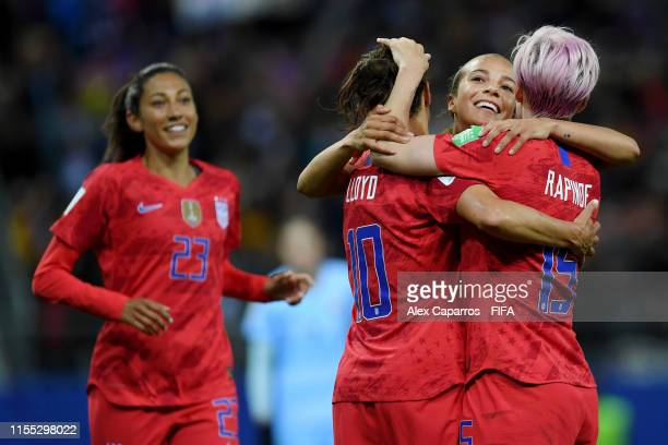 Carli Lloyd of the USA celebrates with teammates after scoring her team's thirteenth goal during the 2019 FIFA Women's World Cup France group F match...