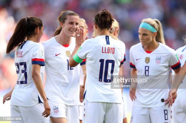 Carli Lloyd of the USA celebrates with teammates after scoring her team's third goal during the 2019 FIFA Women's World Cup France group F match...
