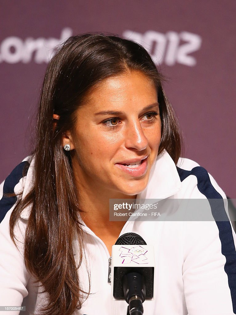 Carli Lloyd of the USA is seen during the Women's Football Final press conference at the Main Press Centre as part of the London 2012 Olympic Games on August 8, 2012 in Newcastle upon Tyne, England.