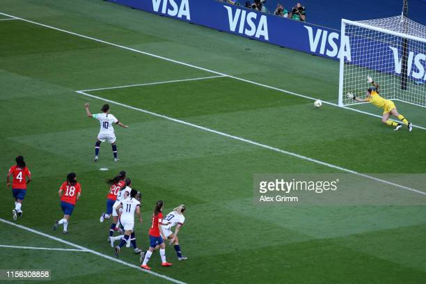 Carli Lloyd of the USA misses a penalty during the 2019 FIFA Women's World Cup France group F match between USA and Chile at Parc des Princes on June...
