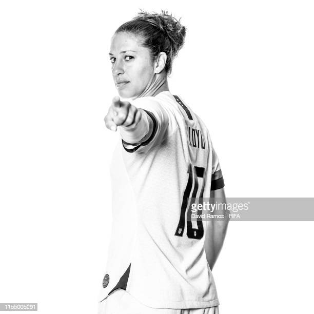 Carli Lloyd of the USA poses for a portrait during the official FIFA Women's World Cup 2019 portrait session at Best Western Premier Hotel de la Paix...