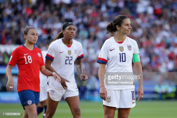 Carli Lloyd of the USA reacts after missing a penalty during the 2019 FIFA Women's World Cup France group F match between USA and Chile at Parc des...