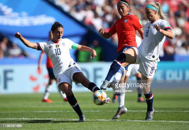 Carli Lloyd of the USA scores her team's first goal during the 2019 FIFA Women's World Cup France group F match between USA and Chile at Parc des...