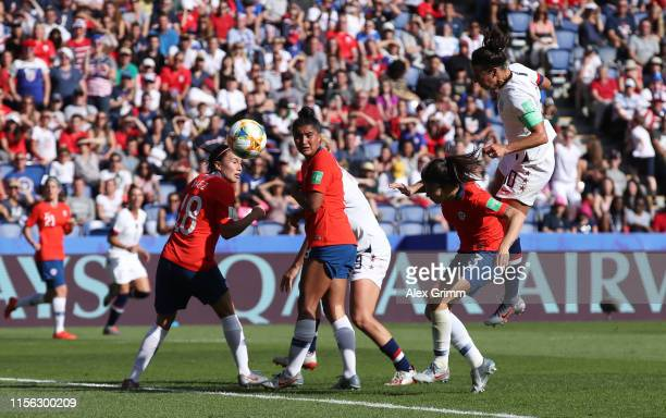Carli Lloyd of the USA scores her team's third goal during the 2019 FIFA Women's World Cup France group F match between USA and Chile at Parc des...