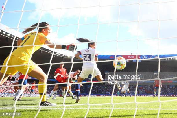 Carli Lloyd of the USA scores her team's third goal past Claudia Endler of Chile during the 2019 FIFA Women's World Cup France group F match between...