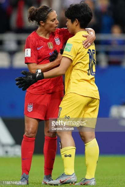 Carli Lloyd of the USA talks to Sukanya Chor Charoenying of Thailand after the loss of Thailand during the 2019 FIFA Women's World Cup France group F...