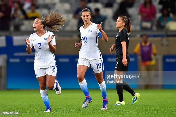 Carli Lloyd of United States and teammate Mallory Pugh celebrate after Lloyd scores in the first half in the Women's Group G first round match...