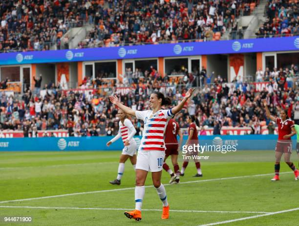 Carli Lloyd of United States celebrates a first half goal against the Mexico at BBVA Compass Stadium on April 8 2018 in Houston Texas