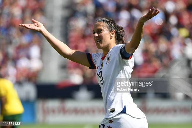 Carli Lloyd of United States celebrates her goal against South Africa during their International Friendly at Levi's Stadium on May 12 2019 in Santa...