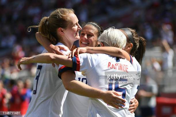 Carli Lloyd of United States celebrates her goal against South Africa with Megan Rapinoe Samantha Mewis and Mallory Pugh during their International...