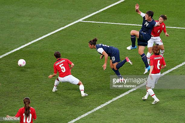 Carli Lloyd of United States heads in a goal in the first half to put the United States up 10 against Japan during the Women's Football gold medal...