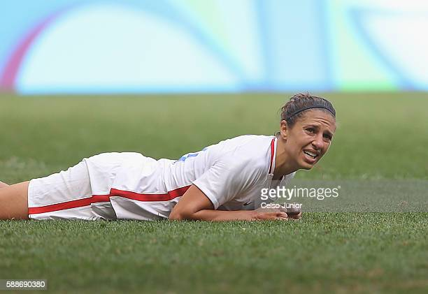 Carli Lloyd of United States reacts against Sweden in the second half during the Women's Football Quarterfinal match at Mane Garrincha Stadium on Day...