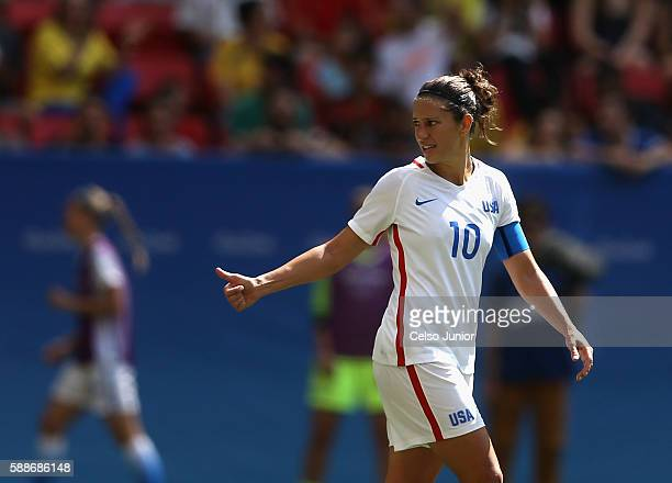 Carli Lloyd of United States reacts while playing during the first half against Sweden during the Women's Football Quarterfinal match at Mane...