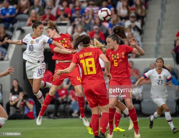 Carli Lloyd of United States scores a goal during the United States international friendly match against Belgium at Banc of California Stadium on...