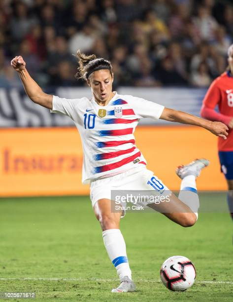 Carli Lloyd of United States takes a shot during the United States international friendly match against Chile at StubHub Center on August 31 2018 in...