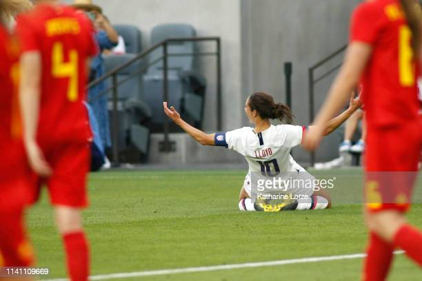 Carli Lloyd of United States Women's National Team celebrates her first goal during the first half of a game against Belgian Women's National Team at...