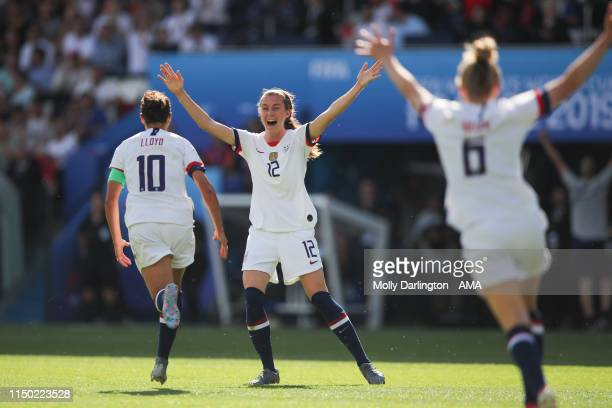 Carli Lloyd of USA celebrates after scoring a goal to make it 10 during the 2019 FIFA Women's World Cup France group F match between USA and Chile at...