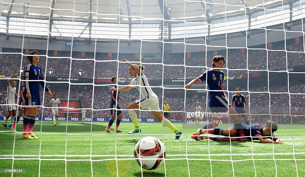 Carli Lloyd of USA celebrates after scoring her team's first goal during FIFA Women's World Cup 2015 Final between USA and Japan at BC Place Stadium on July 5, 2015 in Vancouver, Canada.