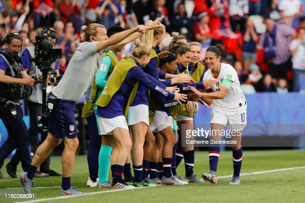 Carli Lloyd of USA celebrates her goal with her teammates during the 2019 FIFA Women's World Cup France group F match between USA and Chile at Parc...