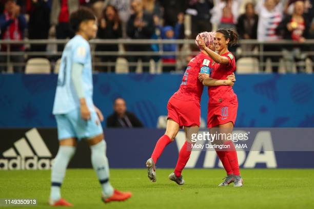 Carli Lloyd of USA celebrates with Megan Rapinoe of USA after scoring a goal to make it 130 during the 2019 FIFA Women's World Cup France group F...