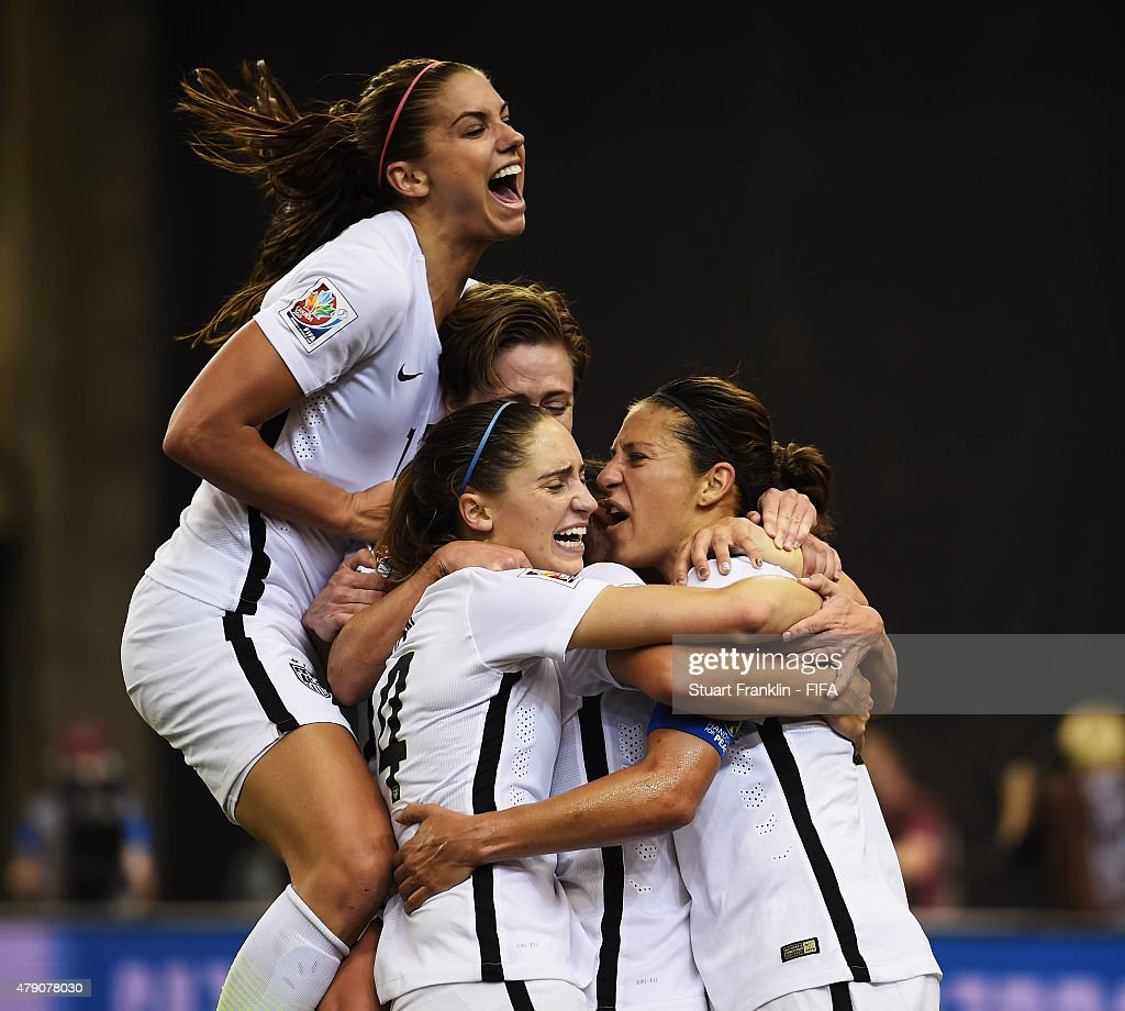 Carli Lloyd of USA clebrates scoring her penalty goal during the FIFA Women's World Cup Semi Final match between USA and Germany at Olympic Stadium on June 30, 2015 in Montreal, Canada.
