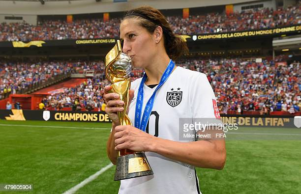 Carli Lloyd of USA holds the EWinner's Trophy after the FIFA Women's World Cup 2015 Final between USA and Japan at BC Place Stadium on July 5 2015 in...