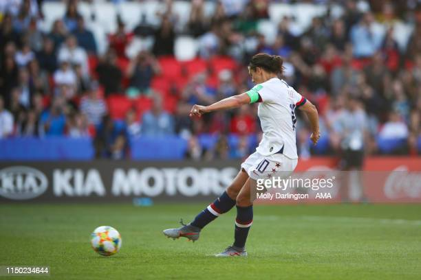 Carli Lloyd of USA misses a penalty which would have resulted in her scoring a hat trick during the 2019 FIFA Women's World Cup France group F match...