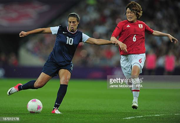 Carli Lloyd of USA scores her goal during the Women's Football Gold Medal match between USA and Japan, on Day 13 of the London 2012 Olympic Games at...