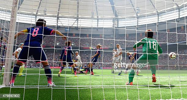 Carli Lloyd of USA scores her team's first goal during FIFA Women's World Cup 2015 Final between USA and Japan at BC Place Stadium on July 5 2015 in...