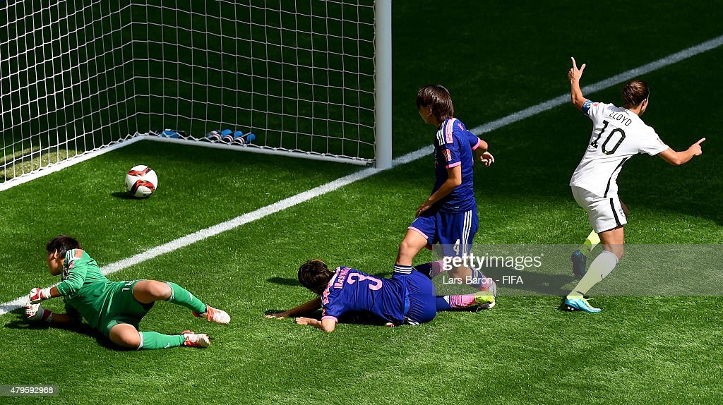 Carli Lloyd of USA scores her teams second goal during the FIFA Women's World Cup 2015 Final between USA and Japan at BC Place Stadium on July 5, 2015 in Vancouver, Canada.